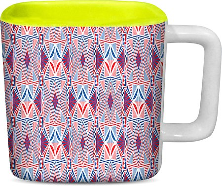 ThinNFat Arabesque mosaic Printed Designer Square Mug - Light Green