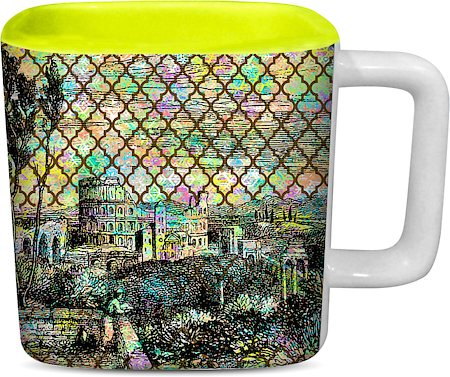 ThinNFat Rangella Qilla Printed Designer Square Mug - Light Green