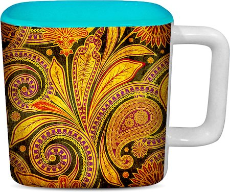 ThinNFat Paisley Art Printed Designer Square Mug - Sky Blue