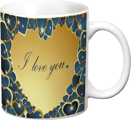 Prithish Blue And Gold Heart, I Love You White Mug