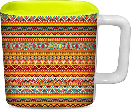 ThinNFat African Art Printed Designer Square Mug - Light Green