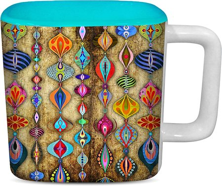 ThinNFat Rajasthani Hangings Printed Designer Square Mug - Sky Blue
