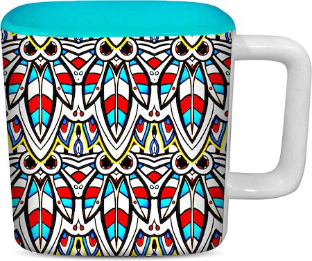 ThinNFat Colourful Bee Printed Designer Square Mug - Sky Blue