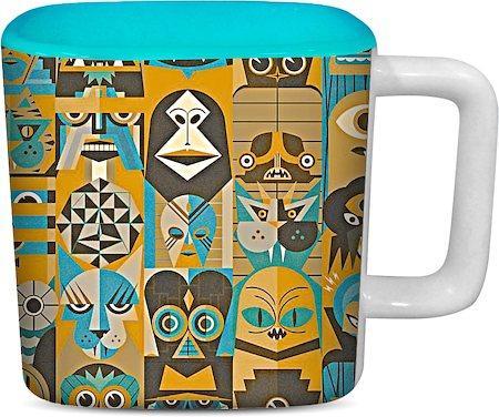 ThinNFat Halloween Printed Designer Square Mug - Sky Blue