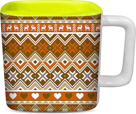 ThinNFat Deer Tribal Printed Designer Square Mug - Light Green