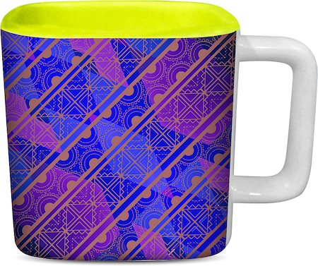 ThinNFat Indian Pattern Printed Designer Square Mug - Light Green