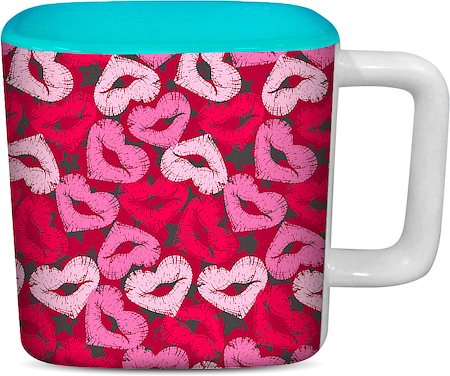 ThinNFat Lips Heart Printed Designer Square Mug - Sky Blue