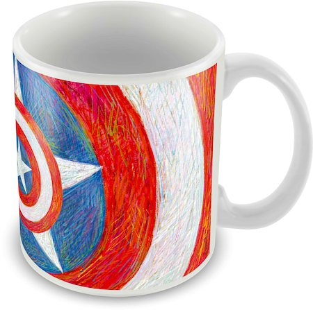 Marvel Captain America Logo Art Blue Ceramic Mug