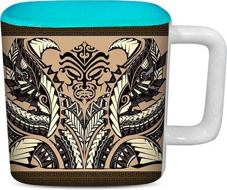 ThinNFat Devil Art Printed Designer Square Mug - Sky Blue
