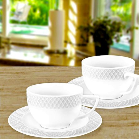 Wilmax ENGLAND Fine Porcelain Julia Coffee Cup, 90 ml and Saucer (White) - set of 6