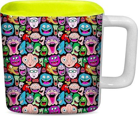 ThinNFat Doodle Faces Printed Designer Square Mug - Light Green