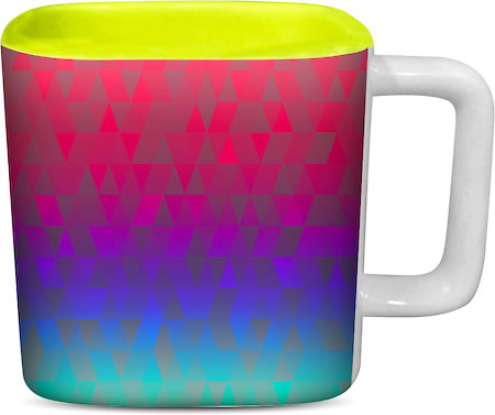 ThinNFat Triangle Gradient Shade Printed Designer Square Mug - Light Green
