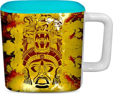ThinNFat African Pattern Printed Designer Square Mug - Sky Blue