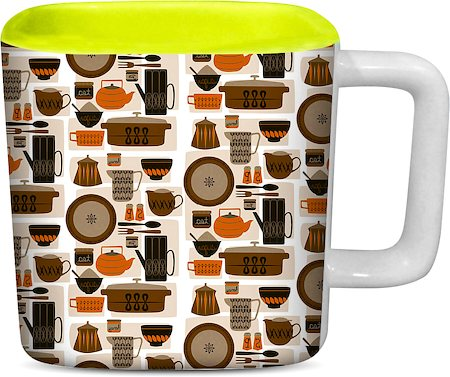 ThinNFat Crockeries Printed Designer Square Mug - Light Green