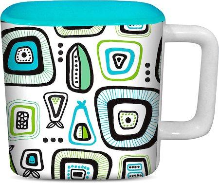 ThinNFat Doodle Design Printed Designer Square Mug - Sky Blue