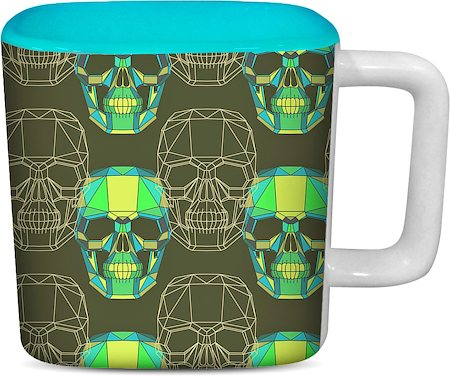 ThinNFat Wireframe Skull Printed Designer Square Mug - Sky Blue