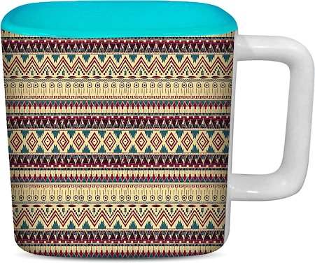 ThinNFat Brown Feather Tribal Printed Designer Square Mug - Sky Blue