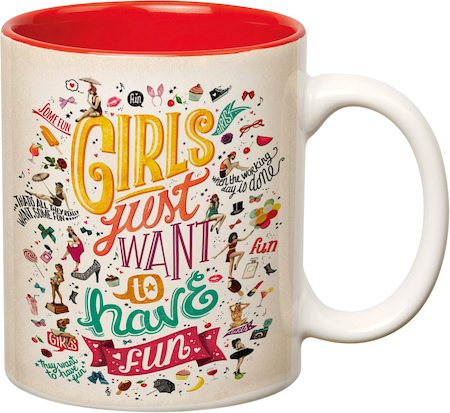 Prithish Girls Just Want to Have Fun Red Double Color Mug