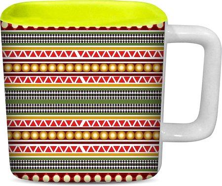 ThinNFat Circle Tribal Printed Designer Square Mug - Light Green