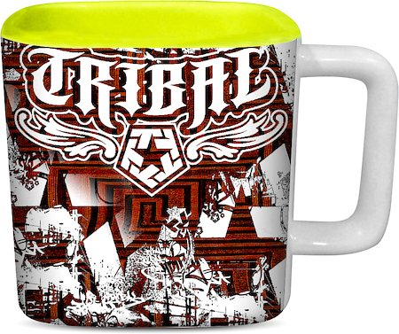 ThinNFat Graffiti Smash Tribal Printed Designer Square Mug - Light Green