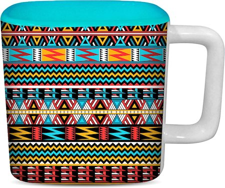 ThinNFat Colourful Art Printed Designer Square Mug - Sky Blue