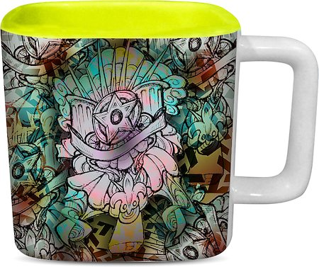 ThinNFat Star Florida Printed Designer Square Mug - Light Green