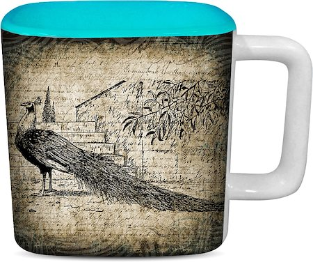 ThinNFat Black Peacock Printed Designer Square Mug - Sky Blue