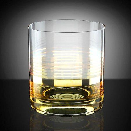 Bohemia Crystal Barline Gold Work Whiskey Glass, 280 ml - set of 6
