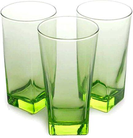 Pasabahce Carre Long Glass Green, 290 ml - set of 6