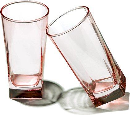 Pasabahce Carre Long Glass Pink, 290 ml - set of 6