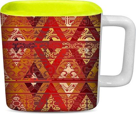 ThinNFat Ethnic Geometric Printed Designer Square Mug - Light Green