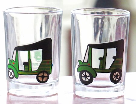 ScrapShala Hand-Painted Auto Theme Chai Glass, 200 ml - set of 2