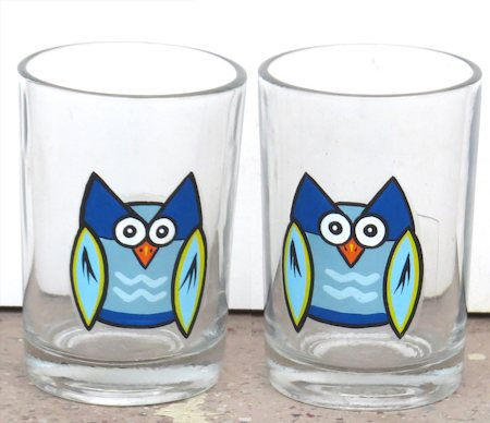 ScrapShala Hand-Painted Owl Theme Chai Glass, 200 ml - set of 2
